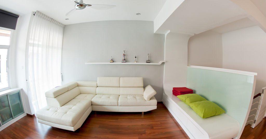 A fish-eye lens photo of a living room