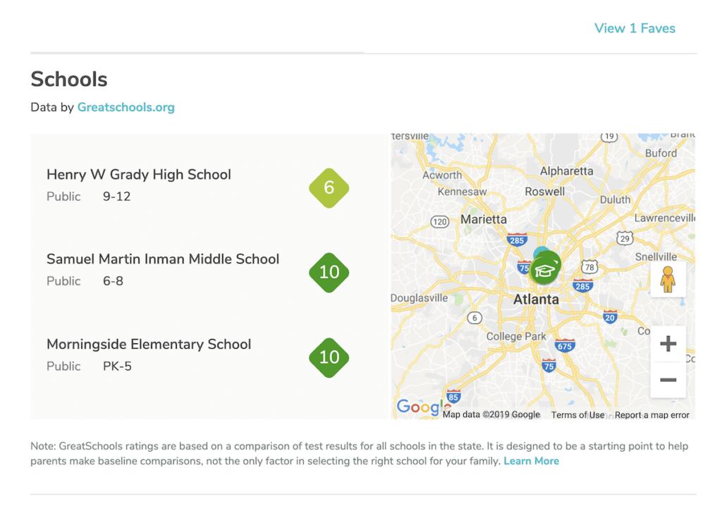 Greatschool.orgs feature on Rentals.com
