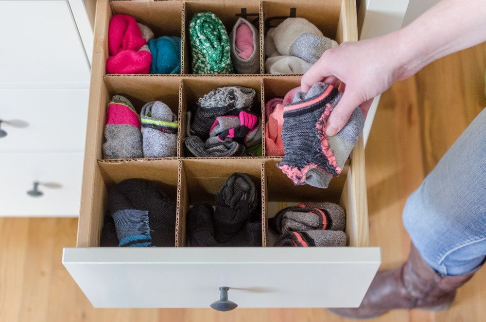 Keep drawers organized and reuse cardboard from empty boxes by making customized dividers.