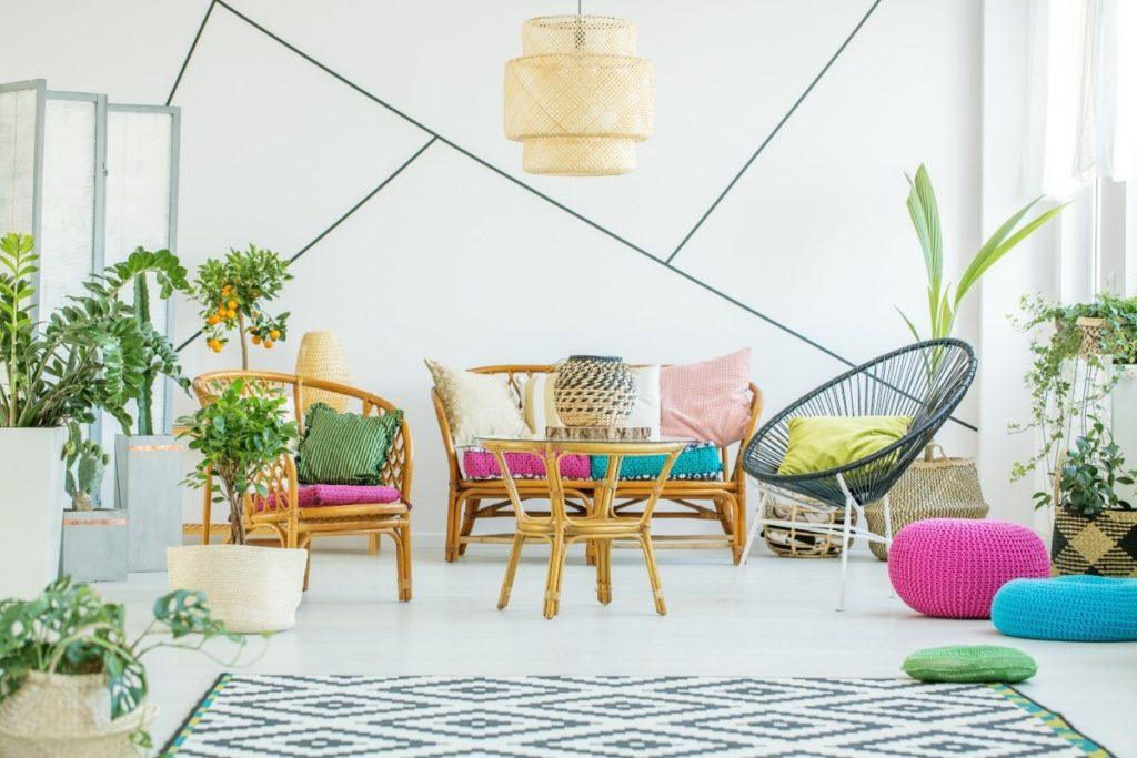 Living room with black washi tape geometric shape designs.
