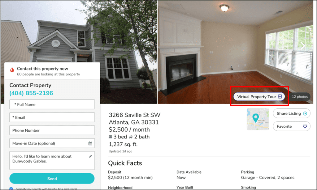 A virtual tour link on a computer desktop to help prospective renters virtually view properties while Coronavirus is still a threat.
