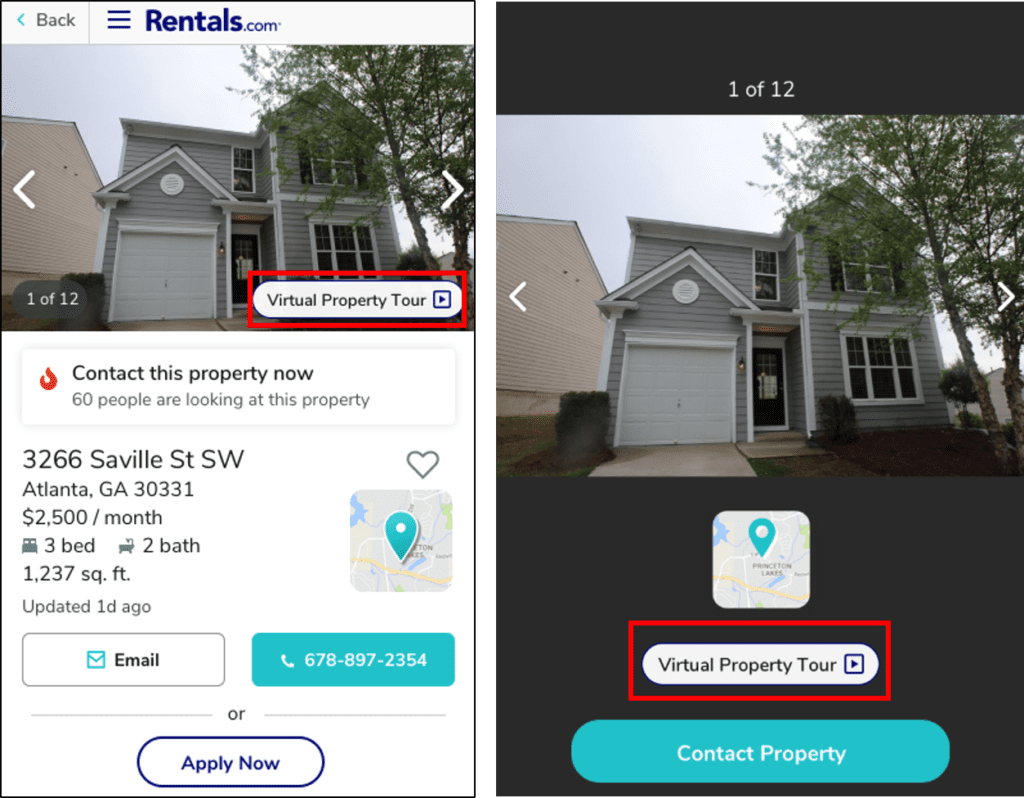 A virtual tour link on a mobile device to help prospective renters virtually view properties while Coronavirus is still a threat.