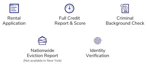 A rental application, full credit report and score, criminal background check, nationwide eviction report and identity verification are included.
