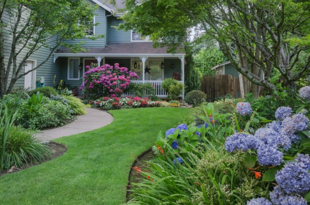 Front yard with trees and multicolored plants and flower bushes. Another great way to create rental home curb appeal.