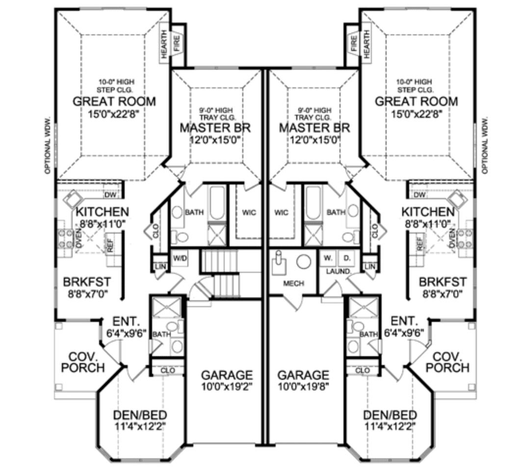 A duplex floor plan.
