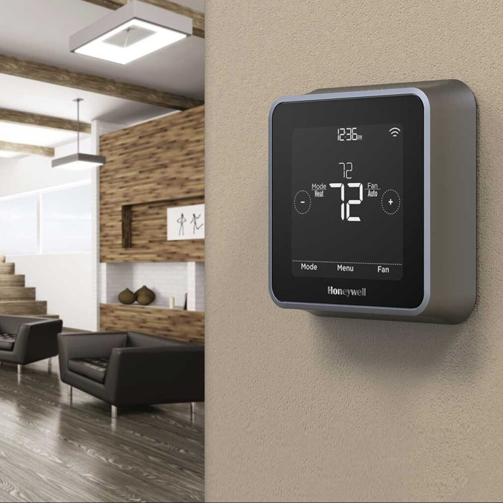 Honeywell Lyric T5 device installed on a wall next to the living room.