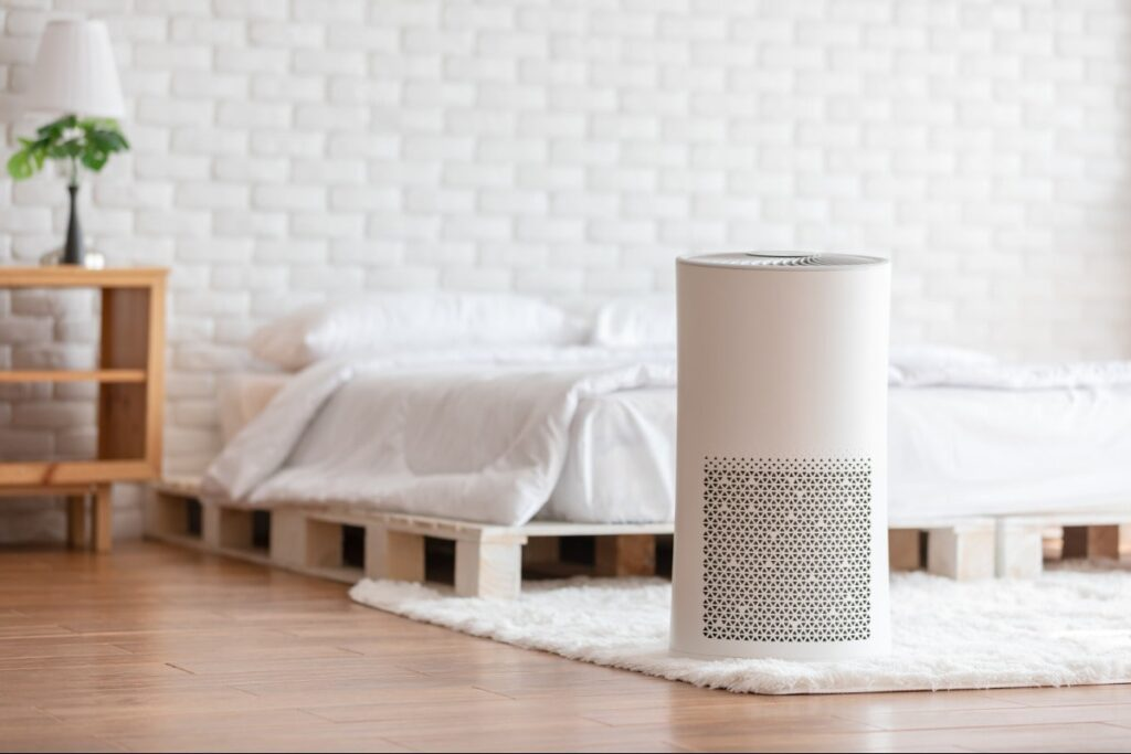 Air purifier located in a bedroom.