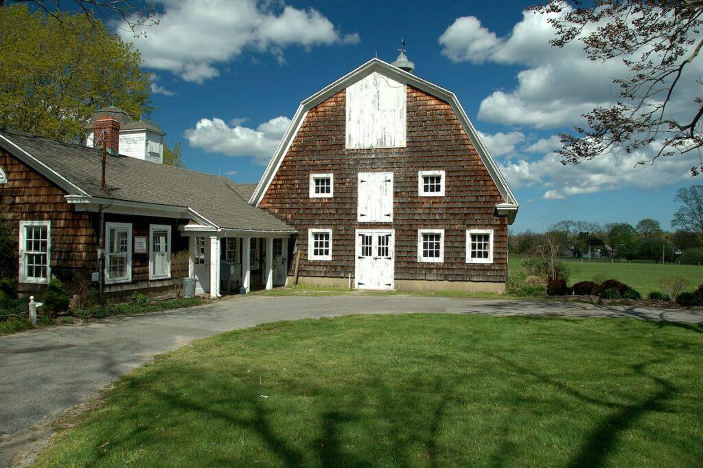 A farmhouse in an exurb.