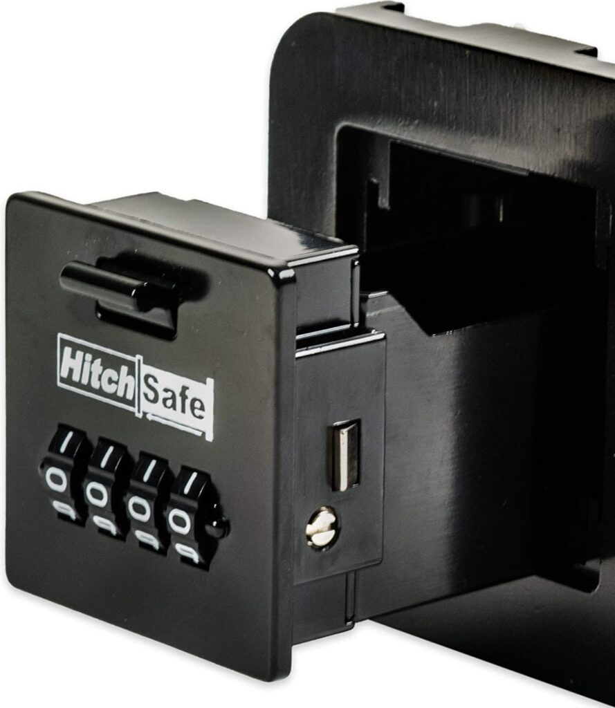 Display of product Hitch Safe focusing on the number combination lock component.