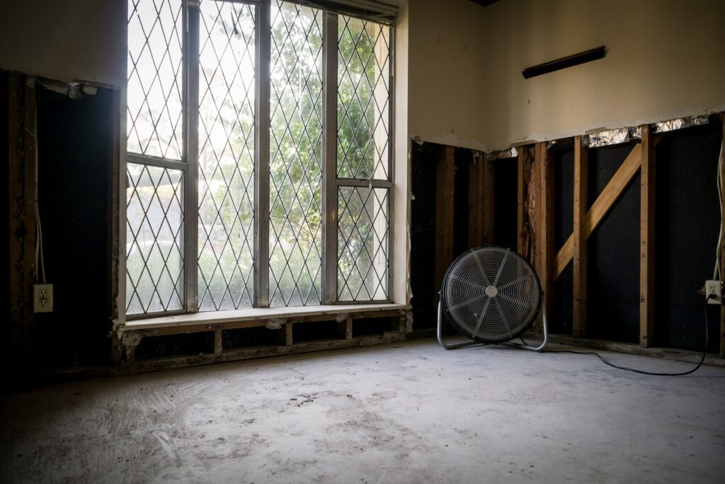 A clean, dry room inside a flooded house.
