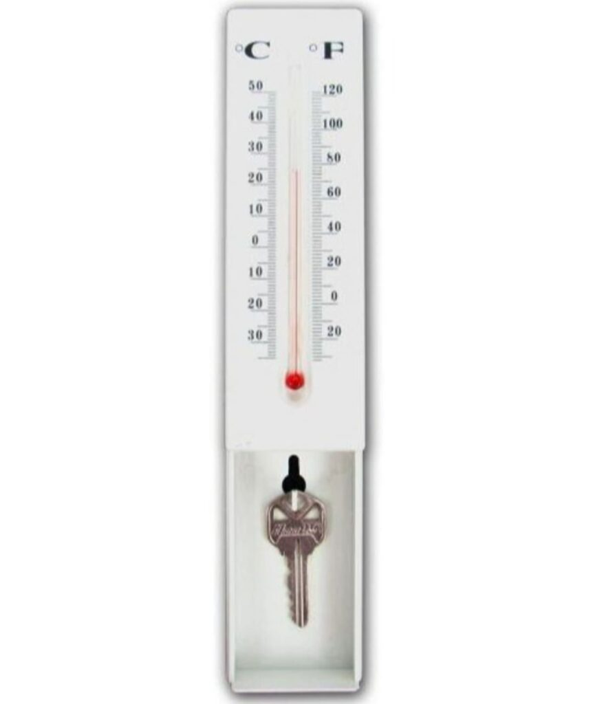 Thermometer key hider product display hidden key.