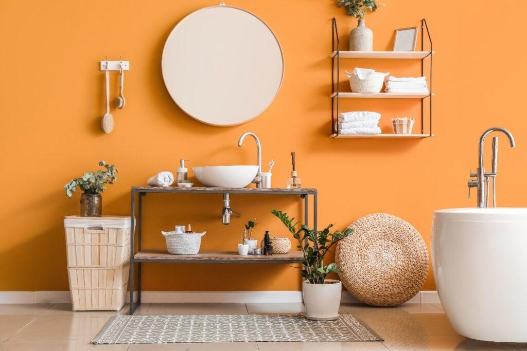 Bathroom with bright orange wall