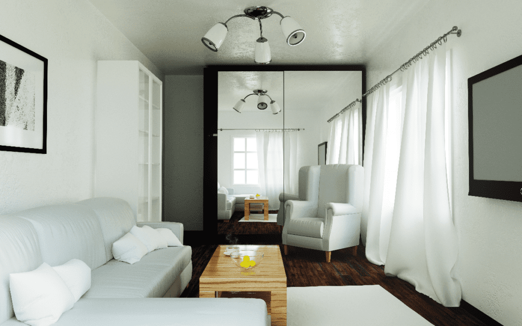 Living room with wall height mirror.